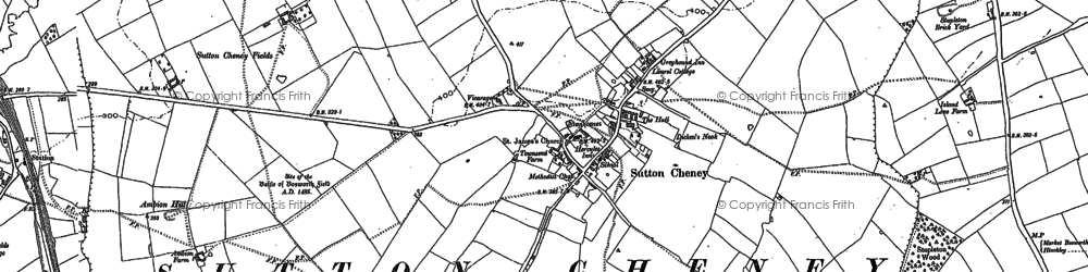 Old map of Ambion Hill in 1885