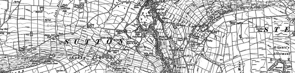 Old map of Sutton-in-Craven in 1889