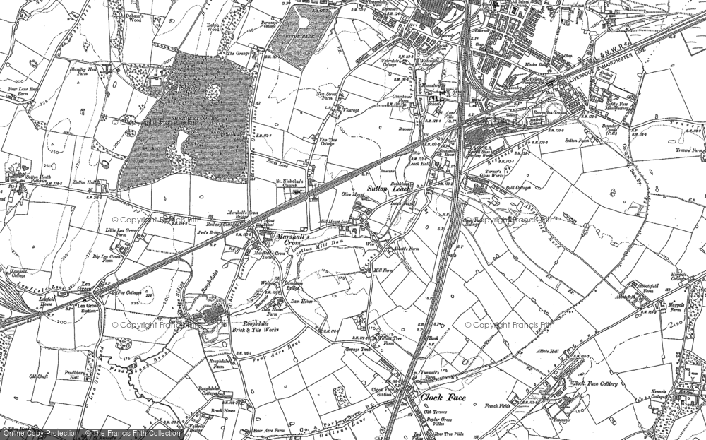 Old Map of Historic Map covering Lea Green Sta in 1891
