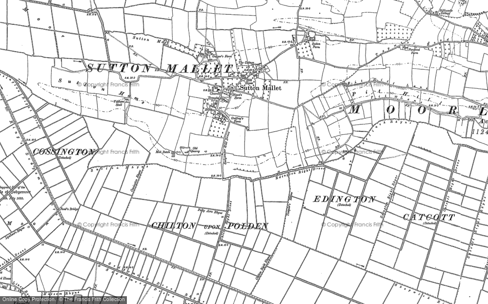Old Map of Historic Map covering Ball Hill in 1885