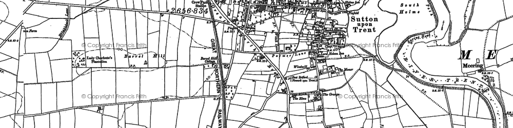 Old map of Sutton on Trent in 1884