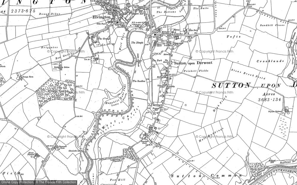 Old Map of Sutton upon Derwent, 1890 - 1891 in 1890