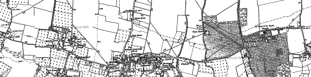 Old map of Sutton Valence in 1896