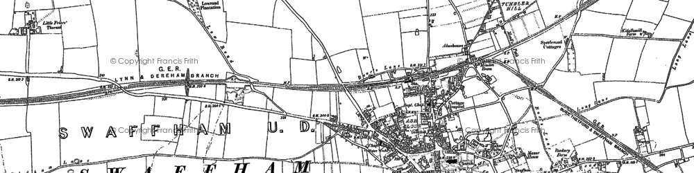 Old map of Swaffham in 1883
