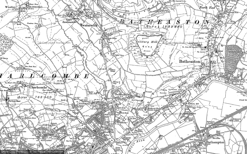 Old Map of Historic Map covering Bailbrook in 1902