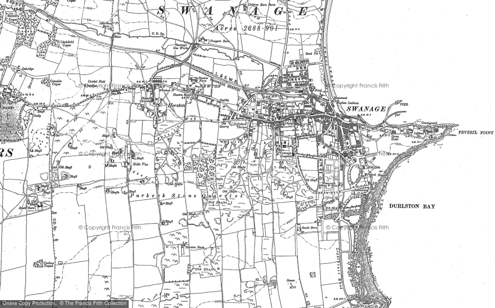 Old Map of Historic Map covering Tilly Whim Caves in 1900