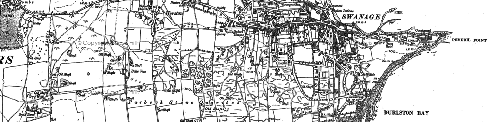 Old map of Tilly Whim Caves in 1900