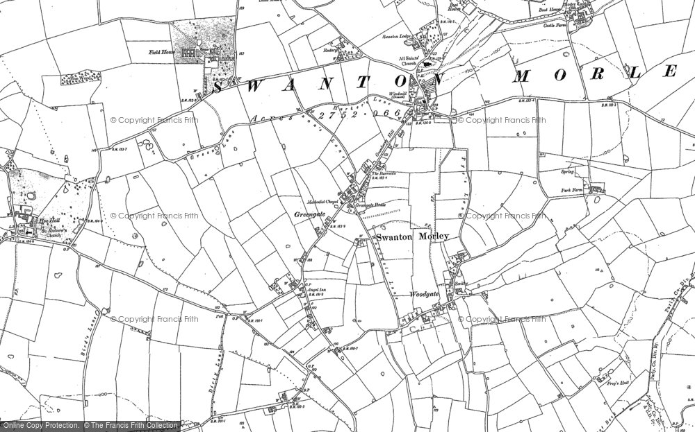 Old Map of Historic Map covering Woodgate in 1882