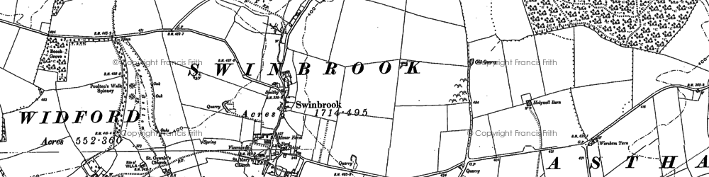 Old map of Widford Village in 1889