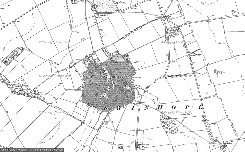 Old Map of Historic Map covering Ash Hill (Long Barrow) in 1887