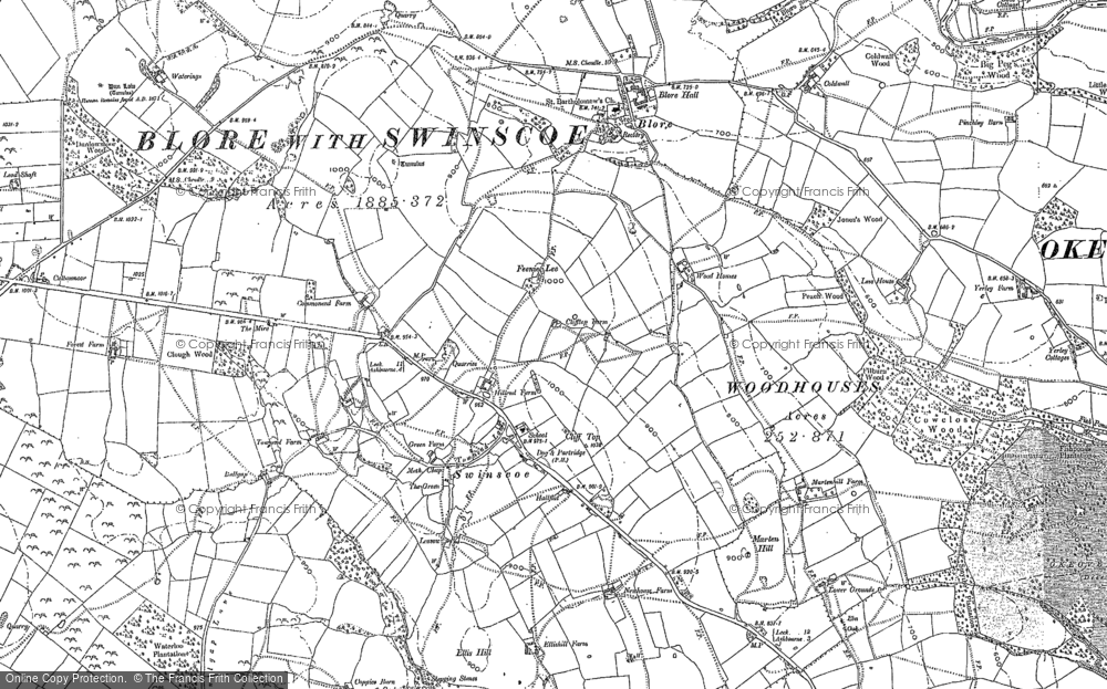 Old Map of Historic Map covering Woodhouses in 1898