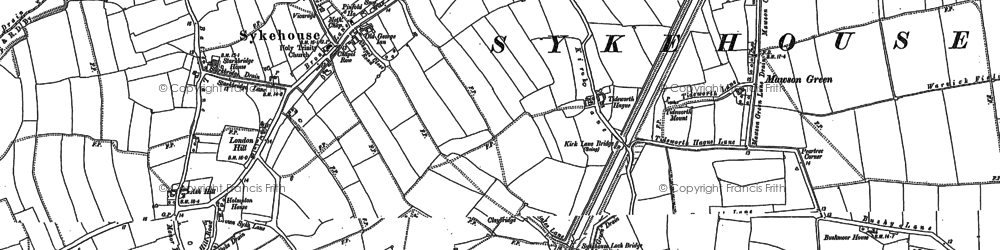Old map of Aire and Calder Navigation in 1888