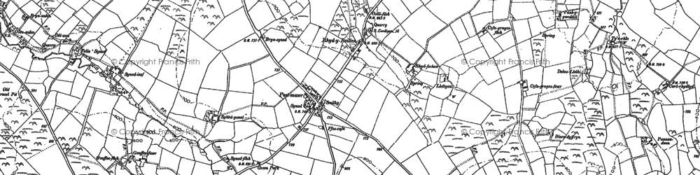 Old map of Afon Soden in 1904