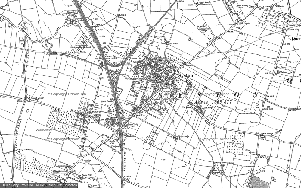Old Map of Historic Map covering Barkby Lodge in 1883