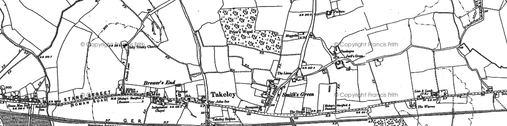 Old map of Bamber's Green in 1895