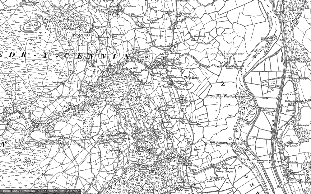 Old Map of Historic Map covering Afon Dulyn in 1887