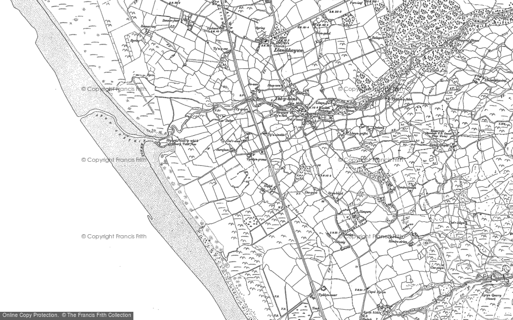 Old Map of Historic Map covering Afon Ysgethin in 1888