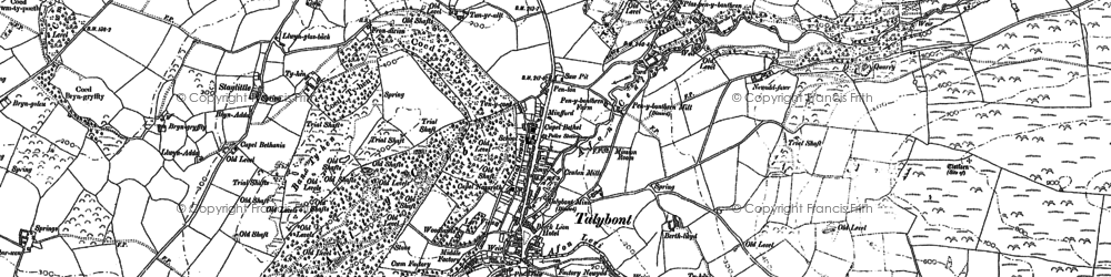 Old map of Tal-y-bont in 1904