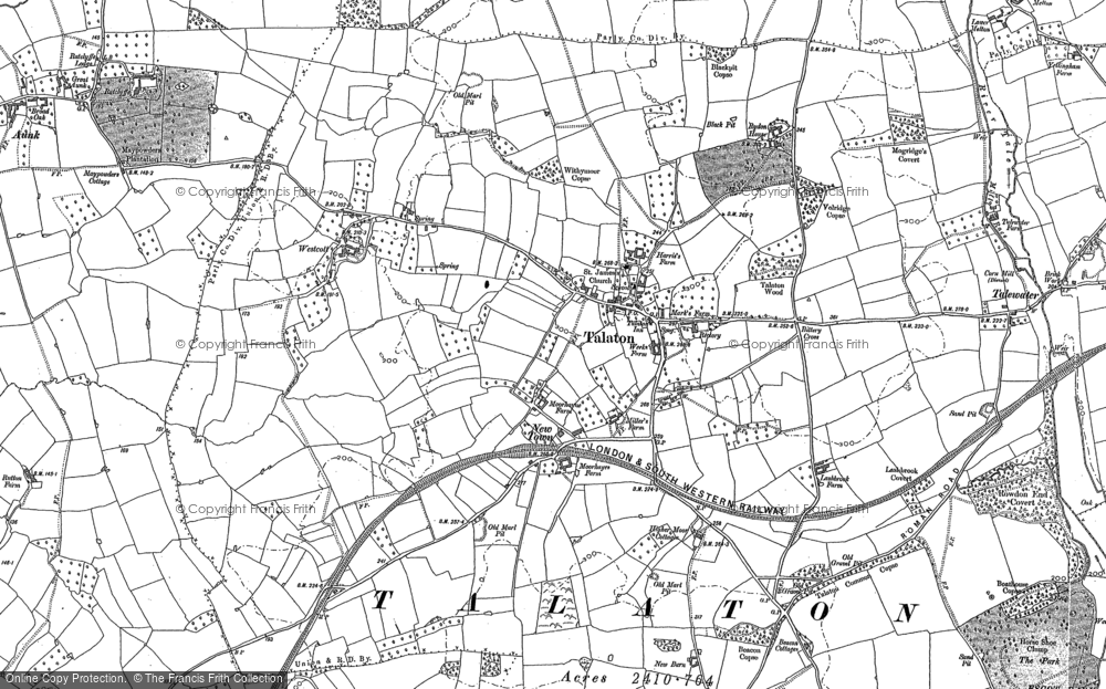 Old Map of Historic Map covering Larkbeare Court in 1887