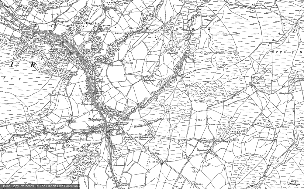 Old Map of Historic Map covering Afon Tyn-y-rhos in 1885