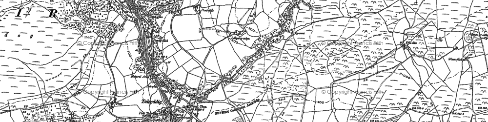 Old map of Afon Tyn-y-rhos in 1885