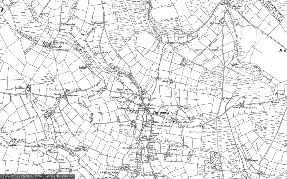 Old Map of Historic Map covering Alltmaen in 1887