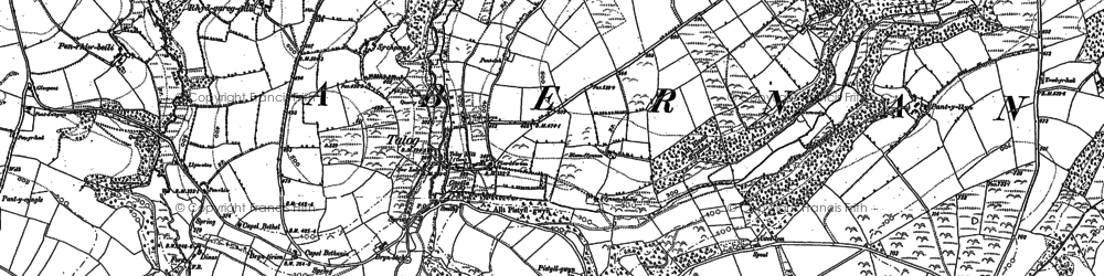 Old map of Afon-fach-Pontgarreg in 1887