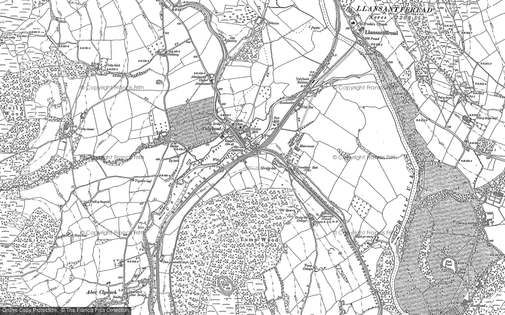 Old Map of Historic Map covering Aber Village in 1886