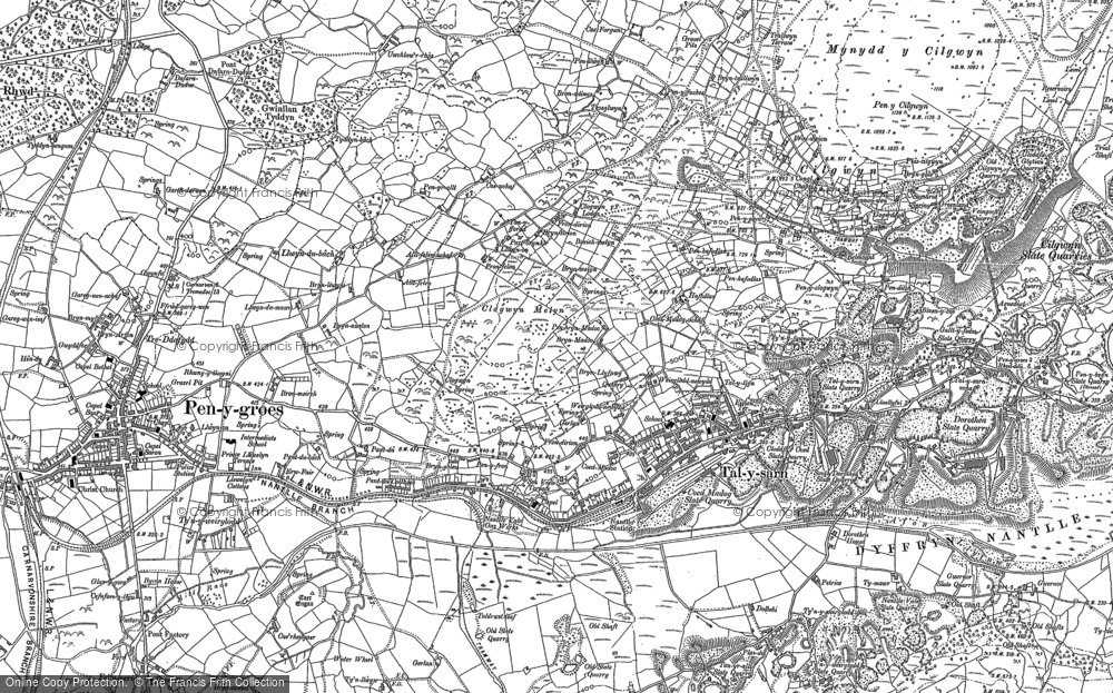 Old Map of Historic Map covering Afon Llyfni in 1888