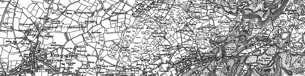Old map of Afon Llyfni in 1888