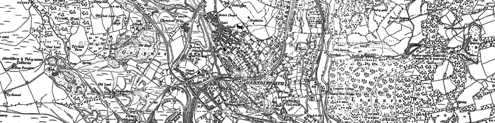 Old map of Talywain in 1899