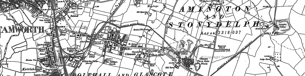 Old map of Tamworth in 1900