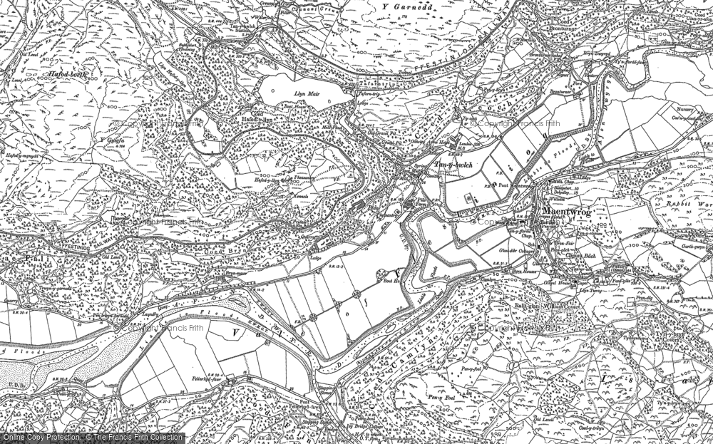 Old Map of Historic Map covering Afon Dwyryd in 1899