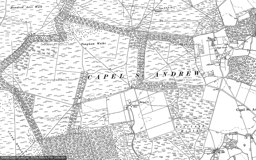 Old Map of Historic Map covering Woodbridge Airfield in 1881