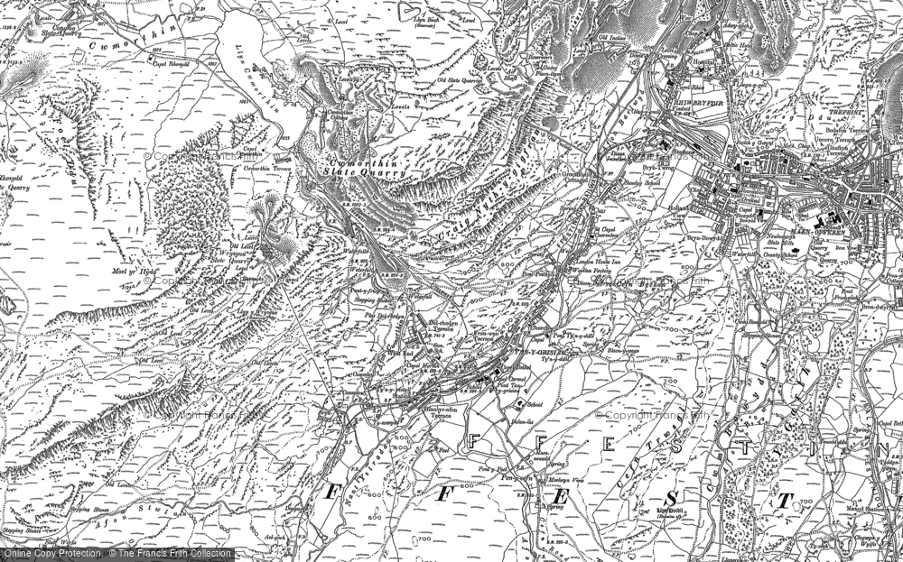 Old Map of Historic Map covering Afon Stwlan in 1899