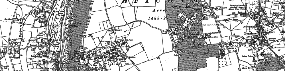 Old map of Taplow in 1910