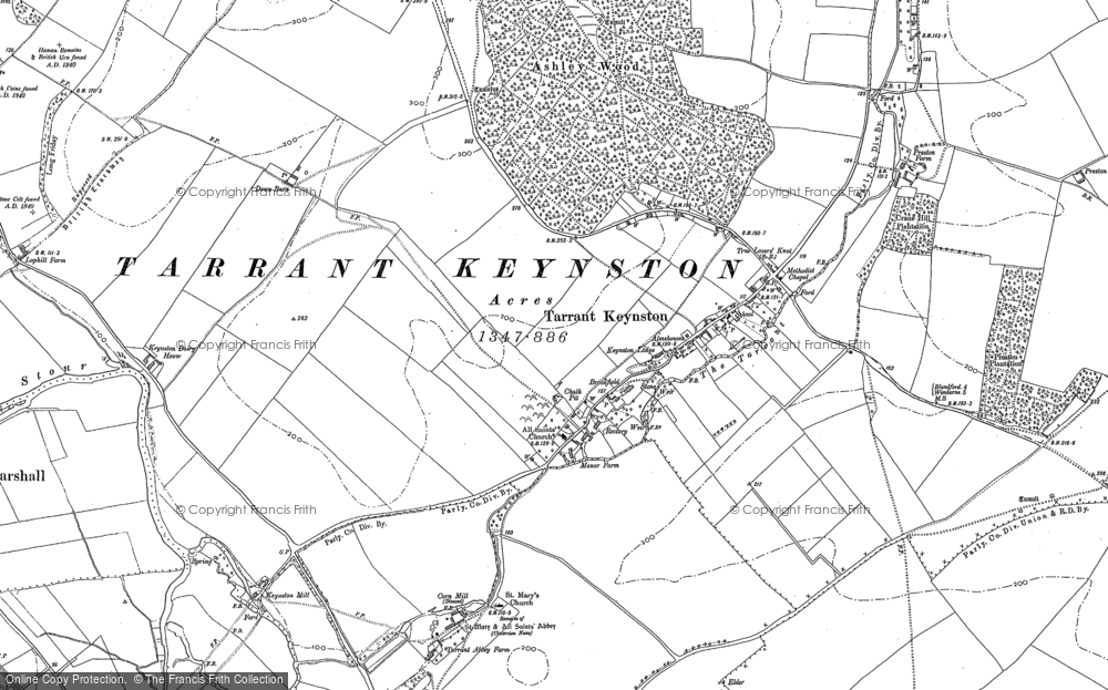 Old Map of Historic Map covering Ashley Wood in 1887