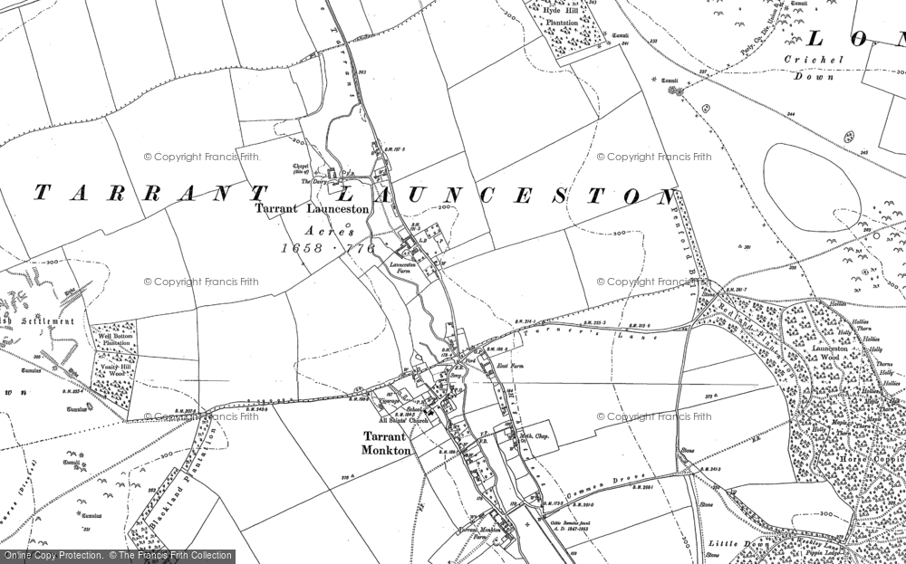 Old Map of Historic Map covering Launceston Down in 1886