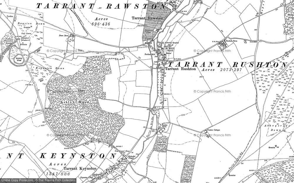 Old Map of Historic Map covering Abbeycroft Down in 1887