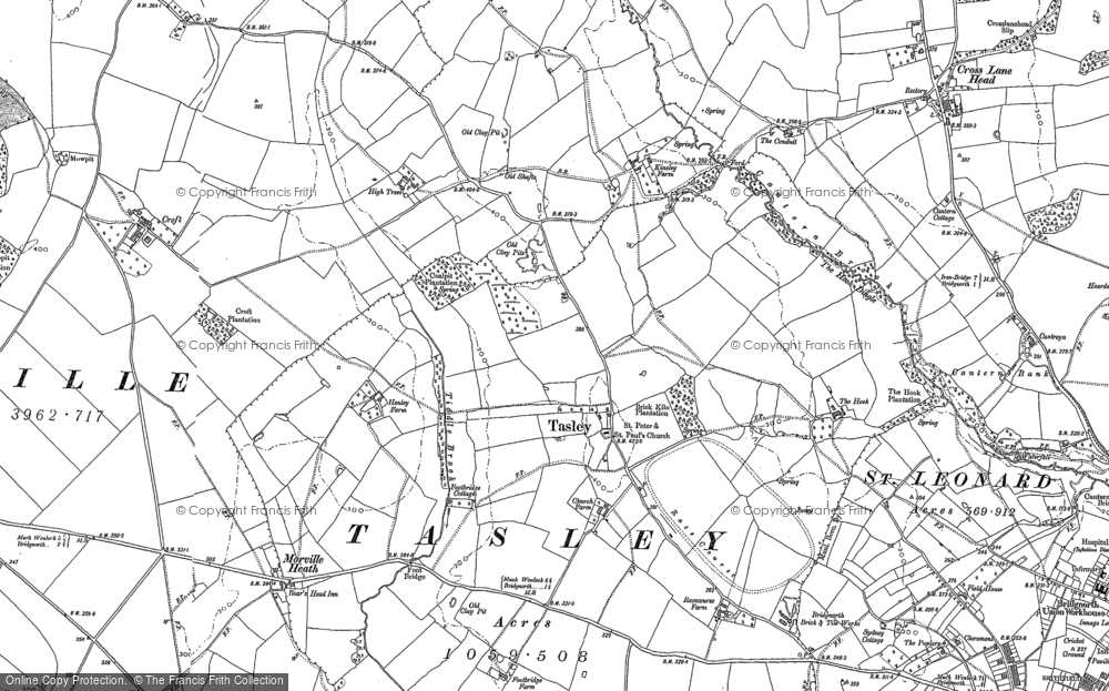 Old Map of Historic Map covering Tiddle Brook in 1882