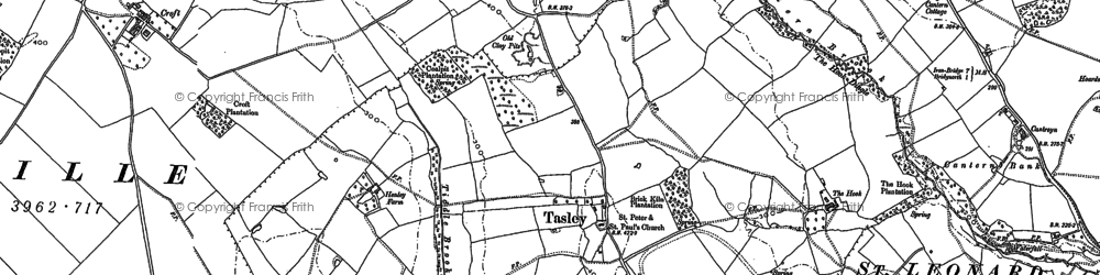 Old map of Tiddle Brook in 1882