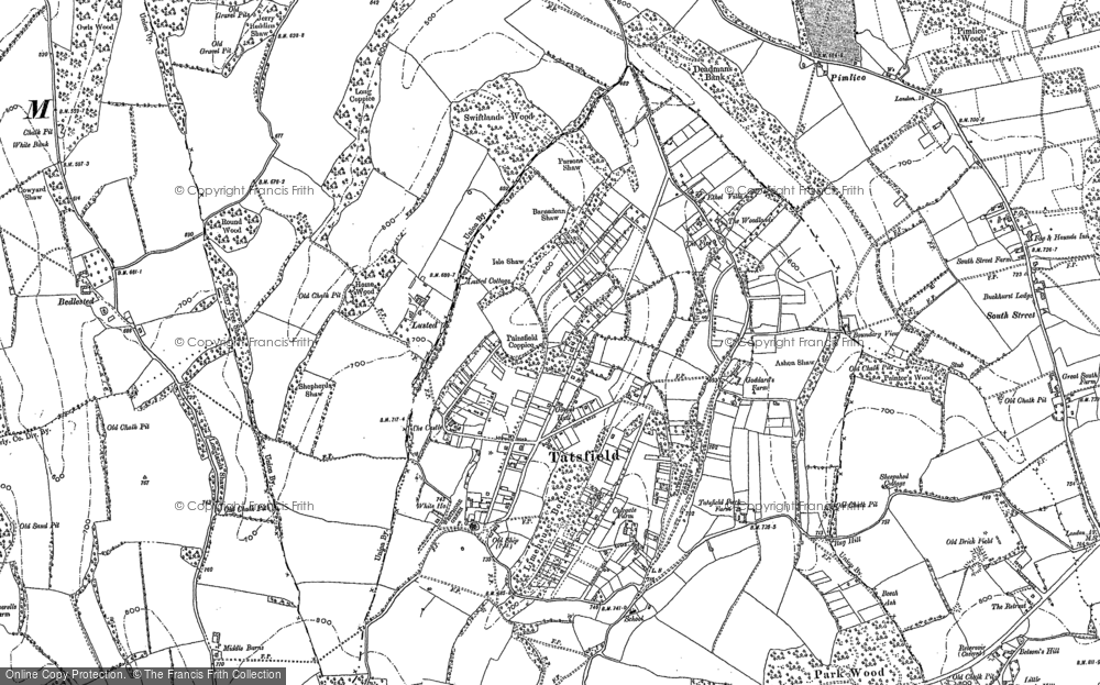 Old Map of Tatsfield, 1907 - 1908 in 1907