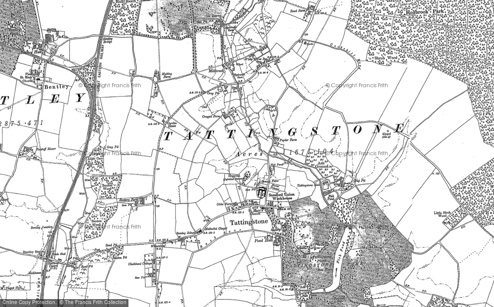 Old Map of Historic Map covering Alton Water (Reservoir) in 1881
