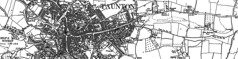 Old map of Taunton in 1887