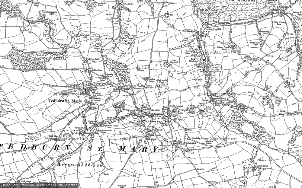 Old Map of Historic Map covering Aller in 1886
