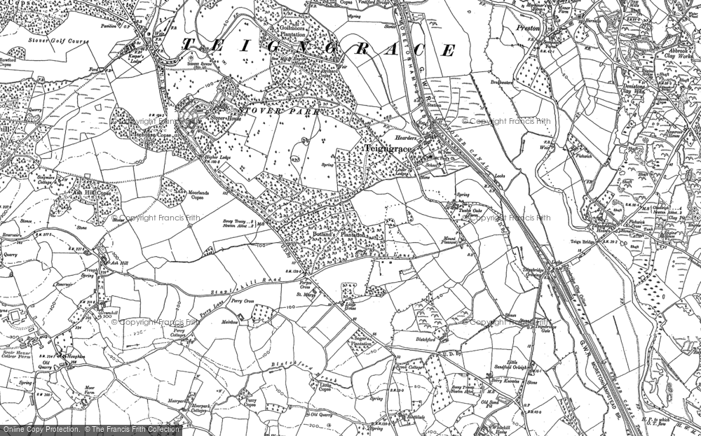 Old Map of Teigngrace, 1887 in 1887