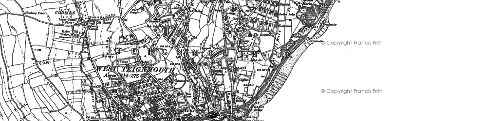 Old map of Teignmouth in 1904