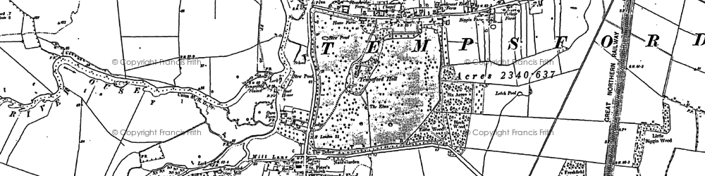 Old map of Church End in 1882