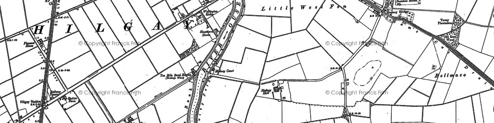 Old map of Willow Row Drain in 1886