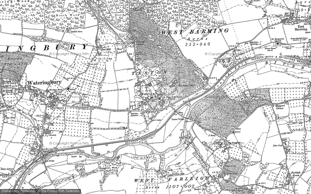 Old Map of Historic Map covering Barham Ct in 1895
